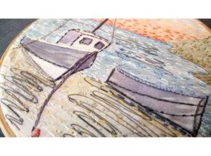 Annie Morris Embroidery Hoop Moored Boat