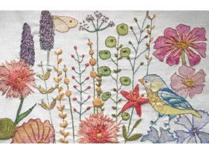 Annie Morris Embroidery Linen Cushion Panel Bluetit