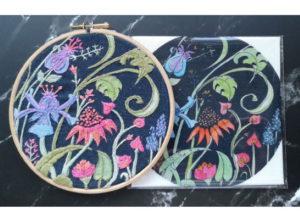 Annie Morris Embroidery Linen Panel Echinaceajpg