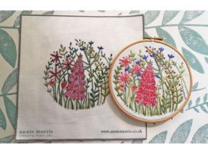 Annie Morris Embroidery Linen Panel Foxglove