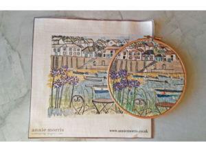Annie Morris Embroidery Linen Panel Mousehole