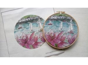 Annie Morris Embroidery Linen Panel Salcombe Regatta