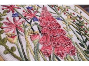 Annie Morris Embroidery Linen Panels Foxglove
