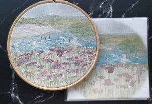 Annie Morris Linen Embroidery Panel Salcombe Summer Landscape