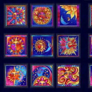 Clothworks Celestial Magic Blocks dark Purple by Laurel Burch