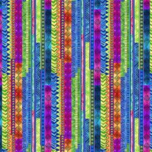 Clothworks Celestial Stripe Multi colour by Laurel Burch