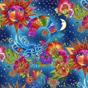 Clothworks Celestial Magic Toile Multi Bright Metallic by Laurel Burch