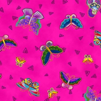 Clothworks Feline Frolics Metallic Pink Butterflies by Laurel Burch