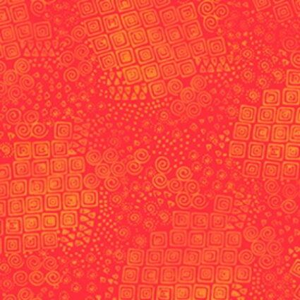 Clothworks Feline Frolics Orange Swirls by Laurel Burch