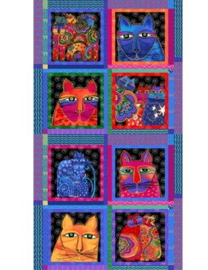 Clothworks feline Frolics 6 Squares Metallic Cat Design by Laurel Burch