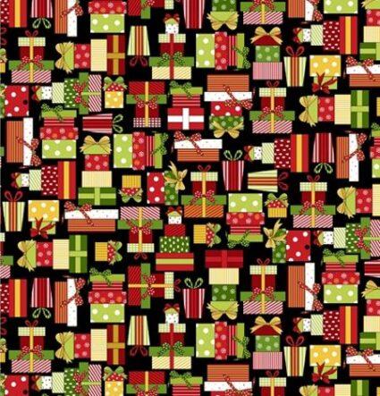 Henry Glass Christmas Elves Christmas Presents Black by Gail Pan