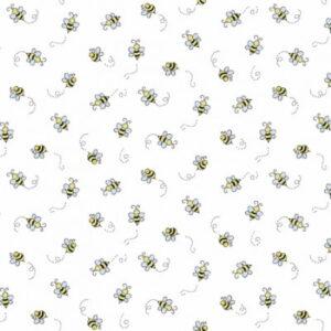 Makower Bumble Bees White