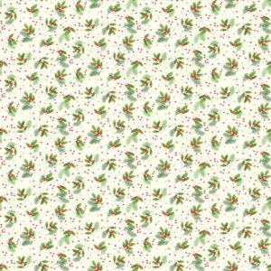 Makower Christmas Classic Holly Spray Creamjpg