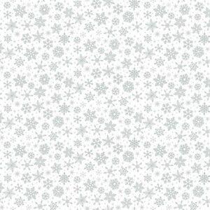 Makower Christmas Metallic Snowflake Silver on White