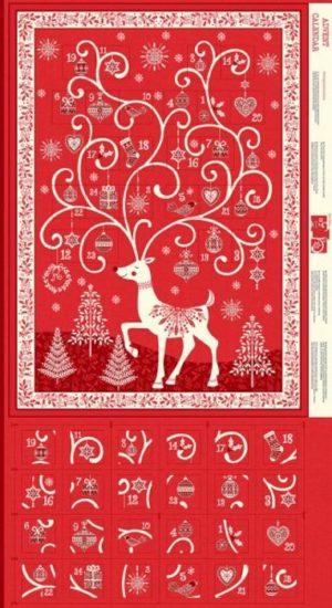 Makower Christmas Scandi 2019 Red Advent panel