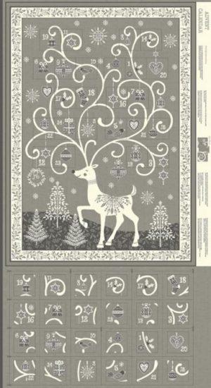 Makower Christmas Scandi Grey Advent Calendar Panel 2019