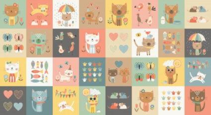 Makower Cool Cats Block Panel