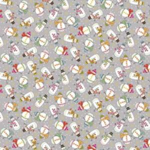 Makower Santa Express Christmas 2021 Snowman Grey