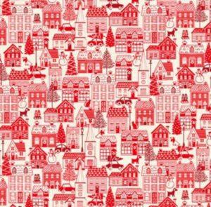 Makower Christmas Scandi 2019 Houses Red