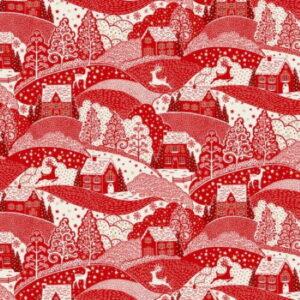 Makower Scandi Christmas 2021 Scenic Red