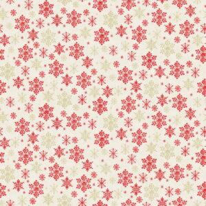 Makower Scandi Christmas 2021 Snowflakes Red