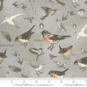 Moda Botanicals Birds Nature Vintage Grey by Janet Clare