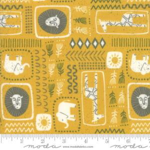 Moda Safari Life Childrens Novelty African Black Print Gold by Stacy Iest Hsu