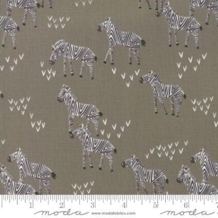 Moda Safari Life Childrens Novelty Grazing Zebras Gray by Designer Stacy Iest Hsu