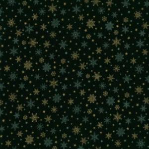 Nutex Christmas Metallic Green Snowflakes