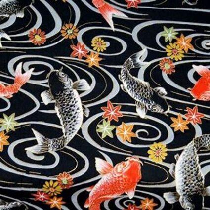 Nutex Japanese Kio Black Koi Carp Metallic Fabric