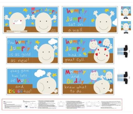 Studio e Huggable and Loveable Humpty Dumpty Childrens Cloth Book Panel
