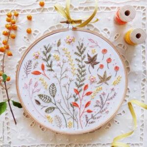 Tamar Nahir Yanai Autumn Leaves Circle Embroidery Kit