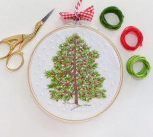 Tamar Nahir Yanai Christmas Tree Circle Embroidery Kit
