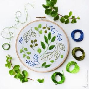 Tamar Nahir Yanai Windy Leaves Circle Embroidery Kit