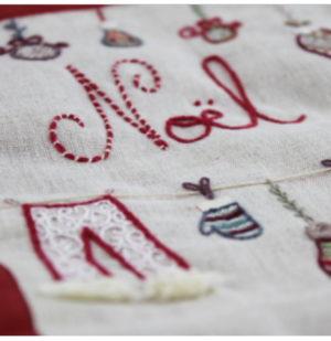 Un Chat dans l'aiguille Botte de Noel Embroidery Kit