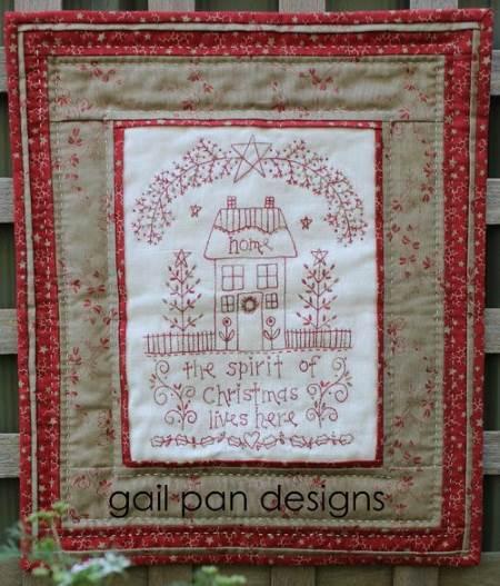 Gail Pan The Spirit Of Christmas Redwork Wall Hanging